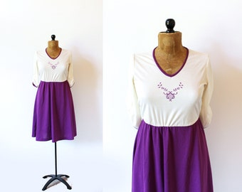 vintage dress 70's retro purple embroidered 1970's women's clothing size small s