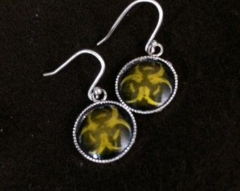 Tiny Yellow Biohazard Earrings