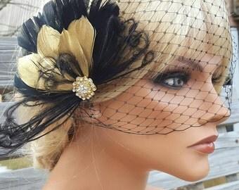 Great Gatsby Style, Black Gold Feather Wedding Fascinator, Feather Hair Clip, Birdcage Veil, French Net Veil,  Bridal Veils, Black, Gold