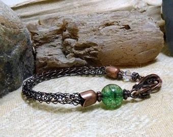 Green Tourmaline Antique Copper Viking Knit Bracelet size 6