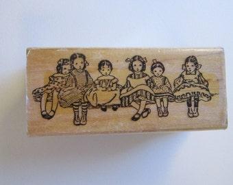 vintage rubber stamp - SUNDAY BEST - little girls, Rubber Stampede