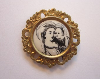 vintage brass frame religious pin - stamped brass frame, madonna and child