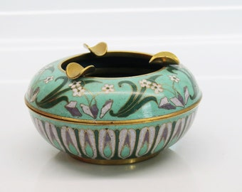 Art Noueau Cloisonné Two Piece Ashtray Mint Floral Design