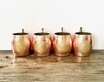 Copper and Brass medallion Stein Set / Set of 4 / Copper Mugs