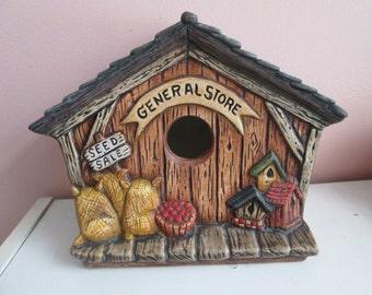 General Store Birdhouse, hand painted ceramics