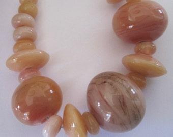 CARNELIAN GLASS STRAND - Handmade Lampwork Glass Beads