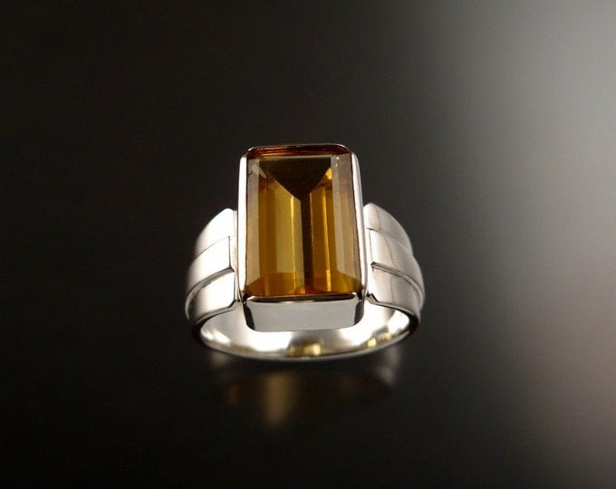 Citrine Rectangle ring Sterling Silver large rectangular stone Topaz substitute ring made to order in your size