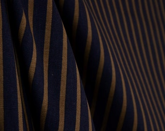 Dark Blue Brown Striped Fabric