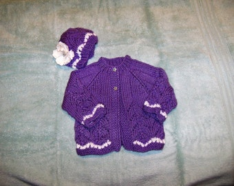 Cardigan in lavender with Matching Flower Hat