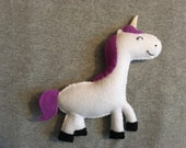 Unicorn Stuffed Toy with Purple Mane and Tail