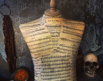 Dress Form / Steampunk / Sheet Music Decoupage / Men's Torso / Store Prop / Theater Prop