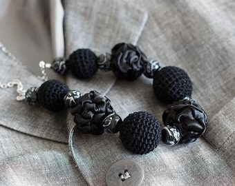 Black fabric and crochet beads necklace, textile necklace, textile jewelry, Statement Necklace, Unique Gift for Her