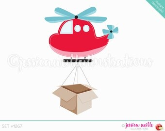 Instant Download Moving Helicopter Clip Art, Cute Digital Clipart, Helicopter Clip art, Helicopter with Box Illustration, #1267