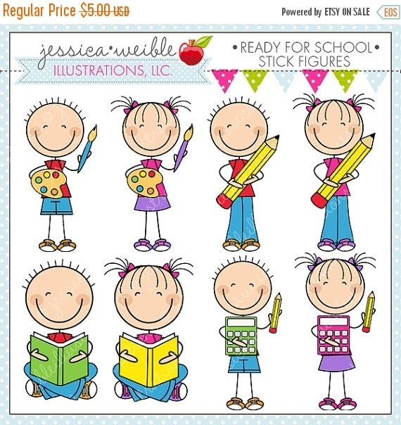 ON SALE Ready For School Stick Figures Cute Digital Clipart for Commercial or Personal Use, School Clipart, School Graphics, School Activity