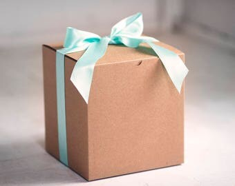 10- 8x8x8.5 inch Kraft Gift Boxes -Kraft Pinstripe or Solid Surface-  Great for balloon announcements!!!