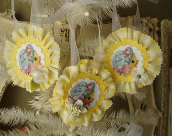 Easter ornaments gift tags cute chicks vintage easter package ties gift wrap glittered tags easter home decor for spring fabric ornaments