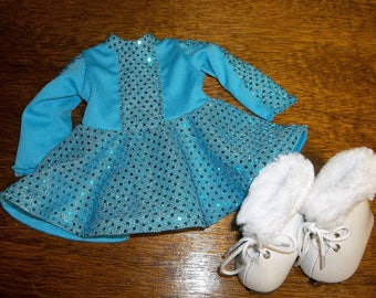 """Blue Ice Skating Outfit with Skates for 18"""" doll / Will fit AG"""