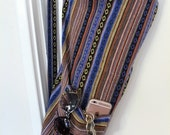 Yoga Bag - Exercise mat bag - Meditation hold all - dark blue and black stripes mexican