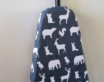 Ironing Board Cover  - grey and white animals elephants goats deer squirrels