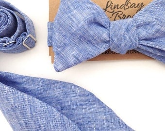 Men's Bow ties, Bow Ties for men, Men's bowties, Self Tie bow ties, linen ties, blue Bow Ties, Bow Ties for boys, groomsmen ties,