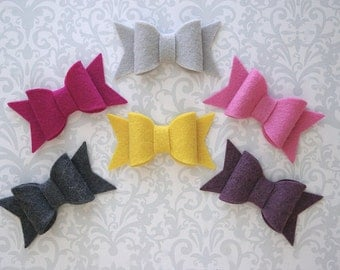 Felt Bow Hair Clip, Pick A Color, Felt Bows, Hair Bow, Felt Hair Clip, Mini Bow, Baby Bows, Girls Hair Bow, Toddler Hair Bows, Toddler Bows