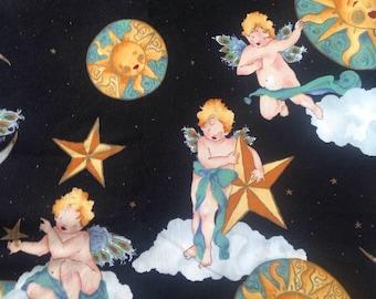 Cherubs Angels Moon Sun Stars Noght Sky Heavens Cotton Quilting Fabric