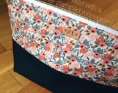 toiletry bag, personalized mothers day gift under 30, floral cosmetic case, rifle paper co peach rosa  travel organizer, makeup organizer