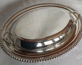 Vintage Silverplated Oval Serving Dish w/ Lid