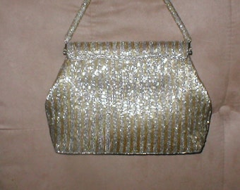 Vintage GOLD & SILVER Beaded Evening Purse