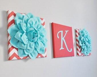 Ocean Aqua Coral Nursery Decor, Personalized Baby Room Art, Mom Gift, Nursery Aqua Wall Art, Baby Girl Nautical Nursery Initail Flower Art