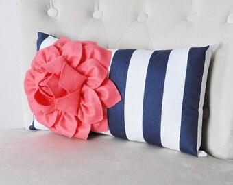 Sailor Stripe pillow case, Beach Lumbar Pillow, Nautical home decor, designer cushion pillow, Bohemian, Coral, Boho throw pillow, Nursery