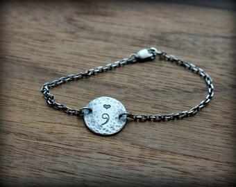 Sterling silver semicolon bracelet, Suicide awareness, Suicide prevention bracelet