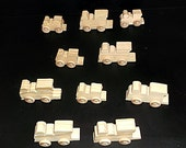 10 Handcrafted Wood Toy Train Engines   OT- 23 unfinished or finished