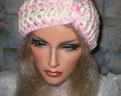 35%OFF SALE Crochet Women's Teens Baby Pink Soft White Head Wrap Turban Ear Warmer