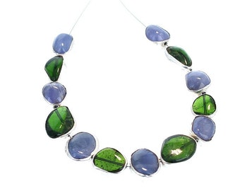 Sterling Silver Rimmed Chrome Diopside and Tanzanite Beads NewWorldGems