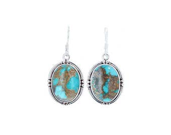 CARICO LAKE TURQUOISE Earrings Sterling Silver Blue Ovals NewWorldGems