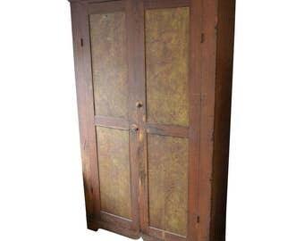 1800s Folk Art Pine Cupboard, Handmade