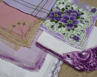 Vintage Hankies Handkerchief Lot of 6 Assorted Purple, Embroidered, Tatting, Lace, Crochet Bridesmaids