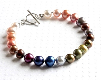 Rainbow Bracelet, Freshwater Pearl Bracelet, Sterling Silver Bracelet, Colored Bracelet, Handmade Beaded Bracelet, Pearl Jewelry for Women