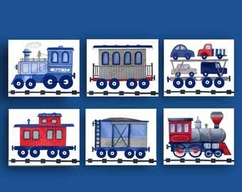 train nursery art, boy train pictures, train bedding art prints, train decor, boys nursery wall art, vintage train art