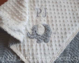 Personalized baby blanket- elephant baby blanket ivory grey silver- 30x35 stroller blanket- jungle baby blanket- neutral name baby blanket