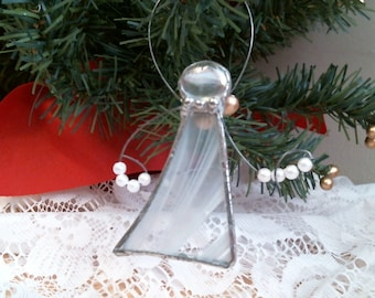 stained glass country white ANGEL w pearl beads suncatcher or ornament