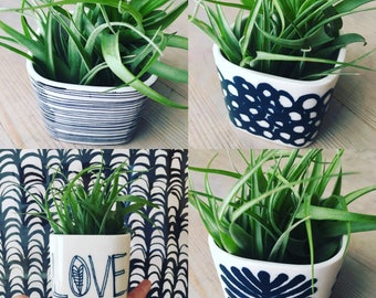 mini porcelain planter screen printed and hand painted various patterns and text.