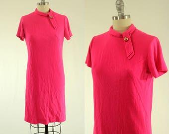 1960's Hot Pink Shift Dress S M