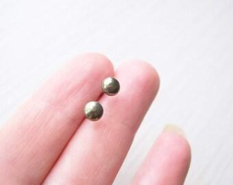 Small Pyrite Post Earrings - Gold Studs, Nickel Free Titanium Earrings, Stone Jewelry, Gemstone, Simple Jewelry