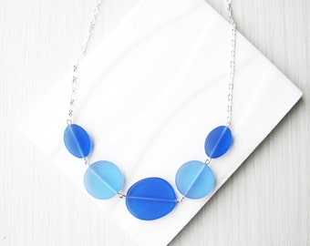 Blue Glass Necklace, Sea Glass Look, Recycled Jewelry, Nickel Free Sterling Silver, Royal, Cobalt, Cornflower, Adjustable