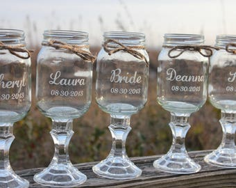 9 Redneck Wine Glasses,  Wedding Bridal Party, Personalized Custom  Redneck Wineglass Mason jars