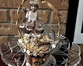 Shabby Chic Peat Pot Spring Altered Art- Cottage Decor