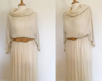 ON SALE Vintage 80s / Miss Ashlee / Cotton / Gauze / Sheer / Cowl Neck / Cream / Dress / Small