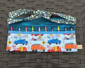 Kids Crayon Apron - Trucks Apron - Crayon Pouch - Boys Crayon Apron - Construction Trucks Crayon Apron